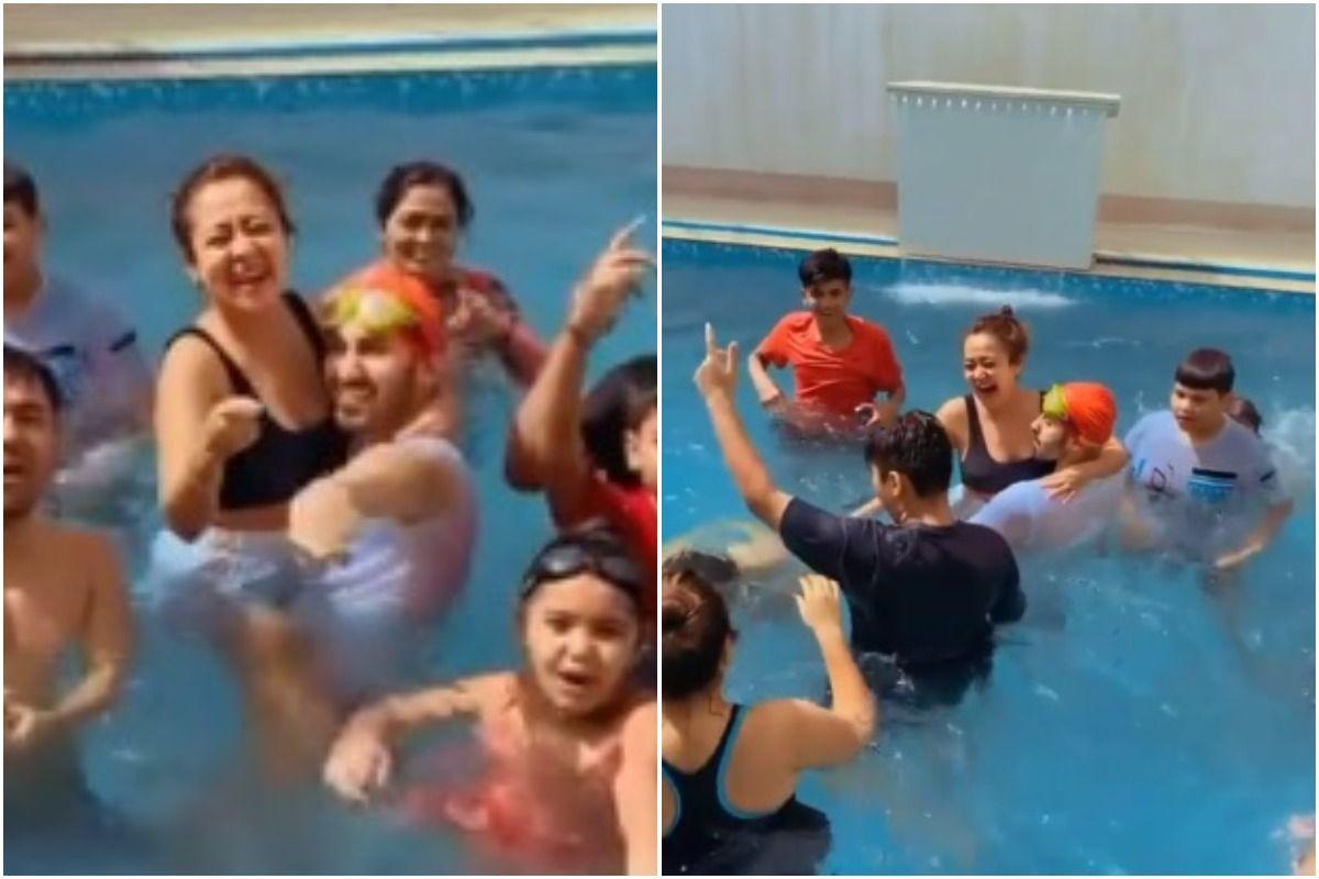 Neha Kakkar Goes Wet And Wild With Husband Rohanpreet Singh in a Pool
