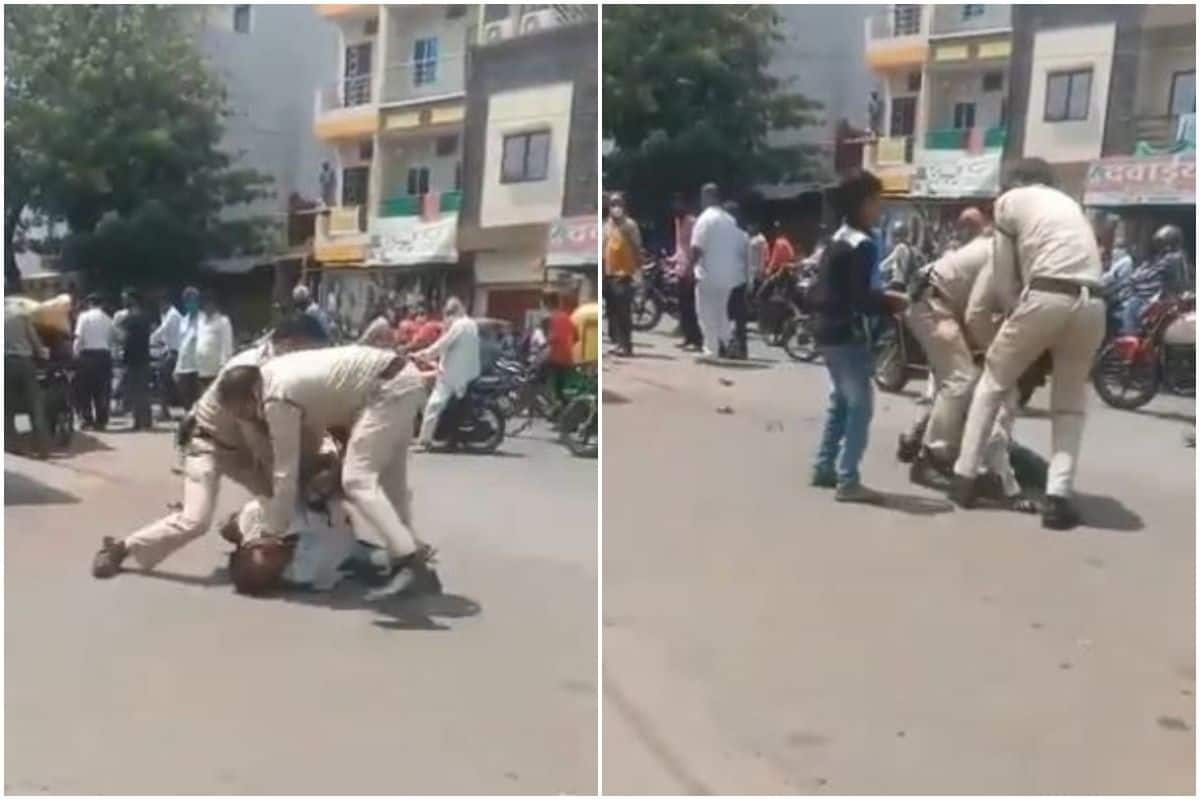 Madhya Pradesh News: 2 policemen in Madhya Pradesh allegedly thrashed a man for not wearing a face mask in public.