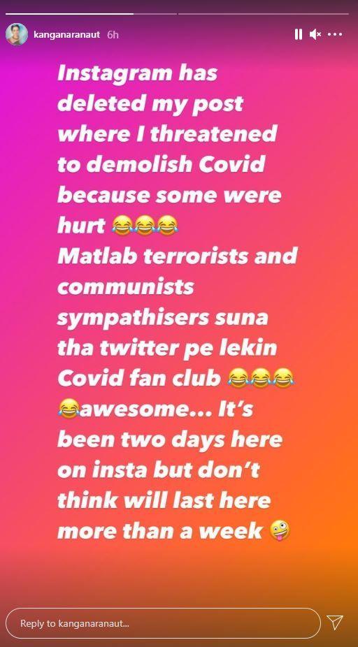 Kangana Ranaut on 'Covid fan club'