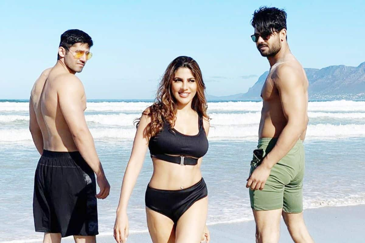 Nikki Tamboli Bowls Over Fans With Her Stunning Black Bikini Look As She Poses With Her Own Desi Boys