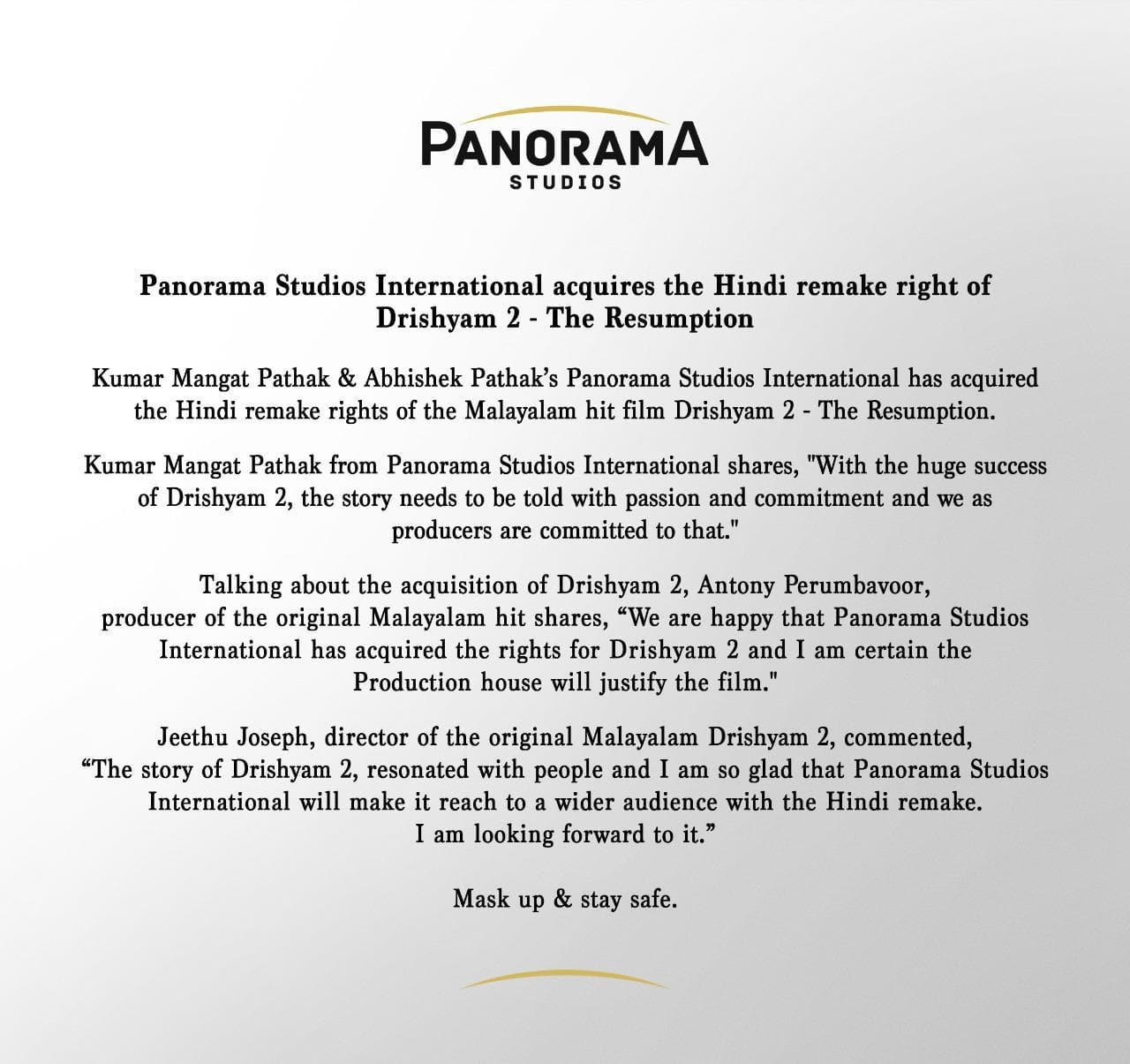 Panorama Studio International Issues Official Statement