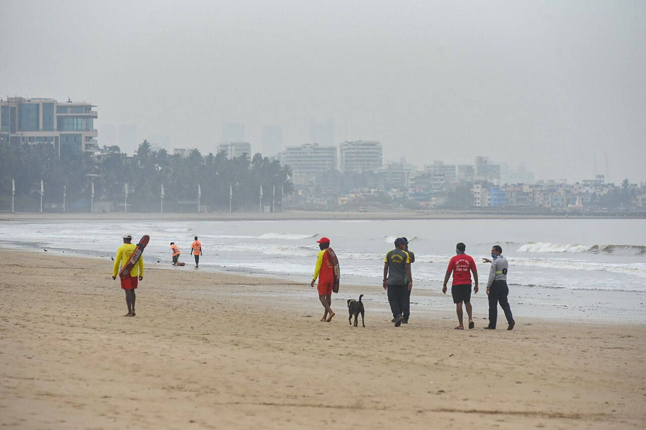 Life Guard and firefighters patrol Juhu beach area due to formation of Cyclone Tauktae in the Arabian Sea, in Mumbai, Saturday, May 15, 2021.