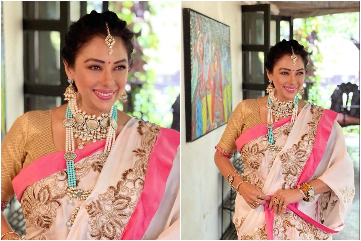Anupamaa aka Rupali Ganguly Stuns in a Lovely Pink-White Saree For Samar-Nandini Sagai