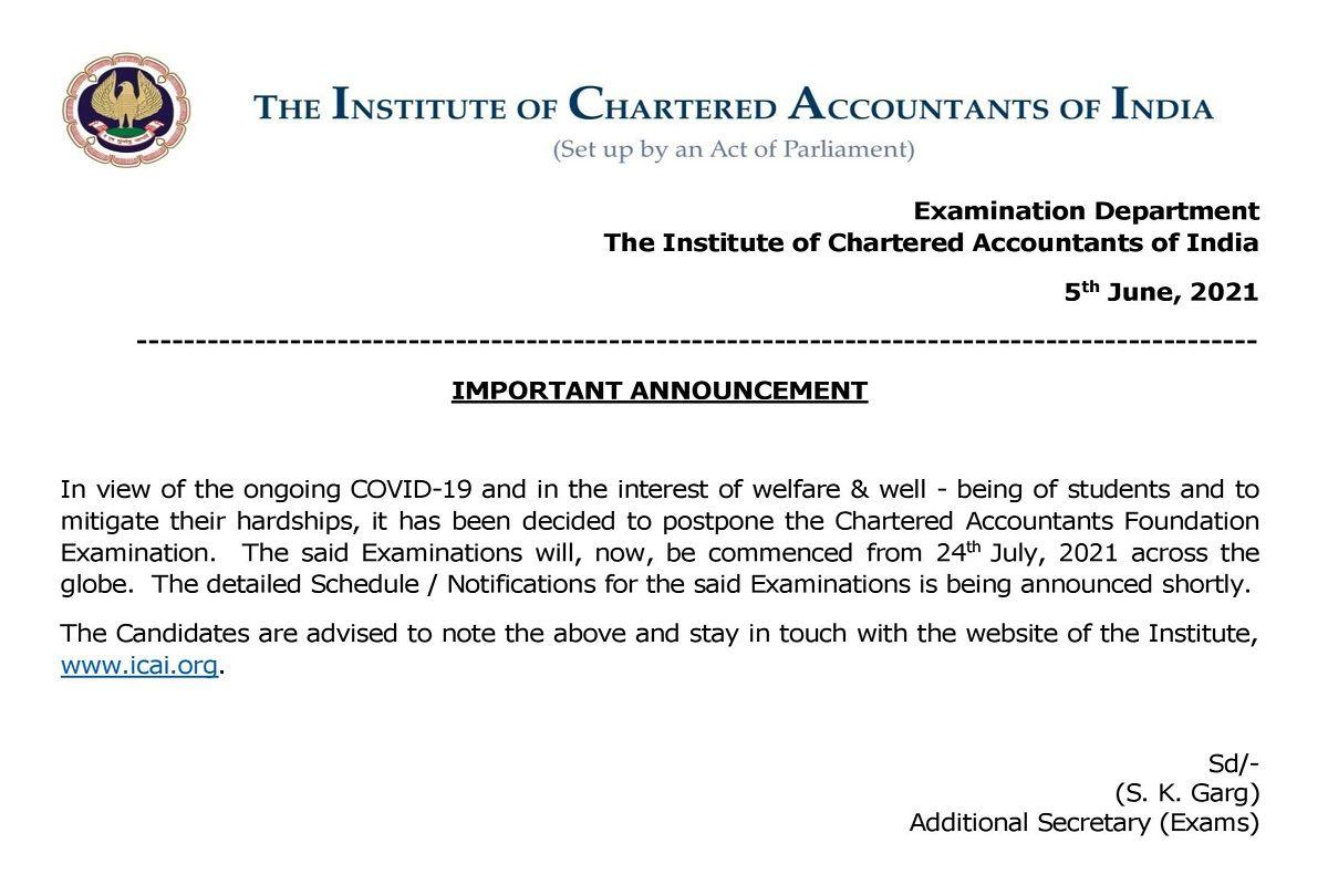 ICAI Postpones CA Foundation Exam 2021. Check Revised Exam Schedule Here