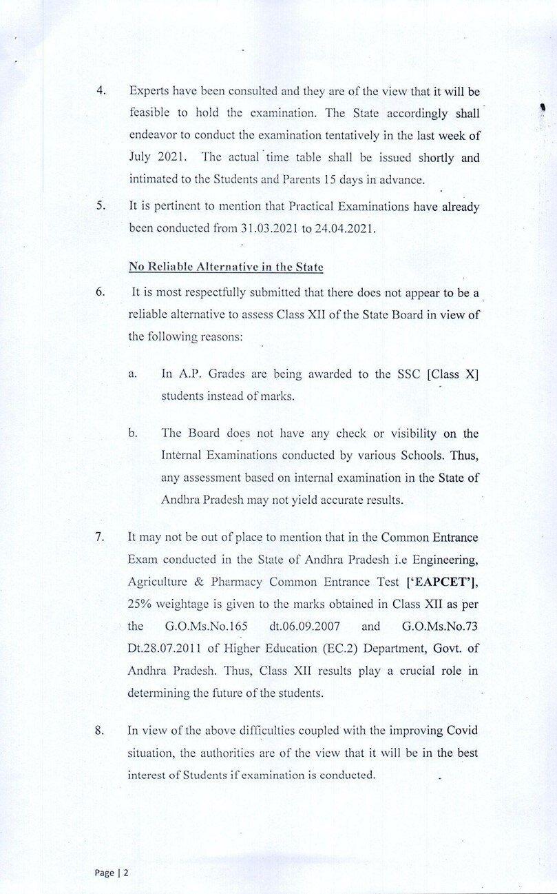No Reliable Alternative To AP Inter Exams: Andhra Govt Tells Supreme Court