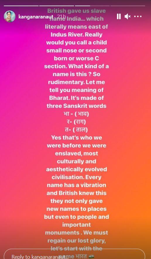 Kangana Ranaut wants to Rename India as Bharat