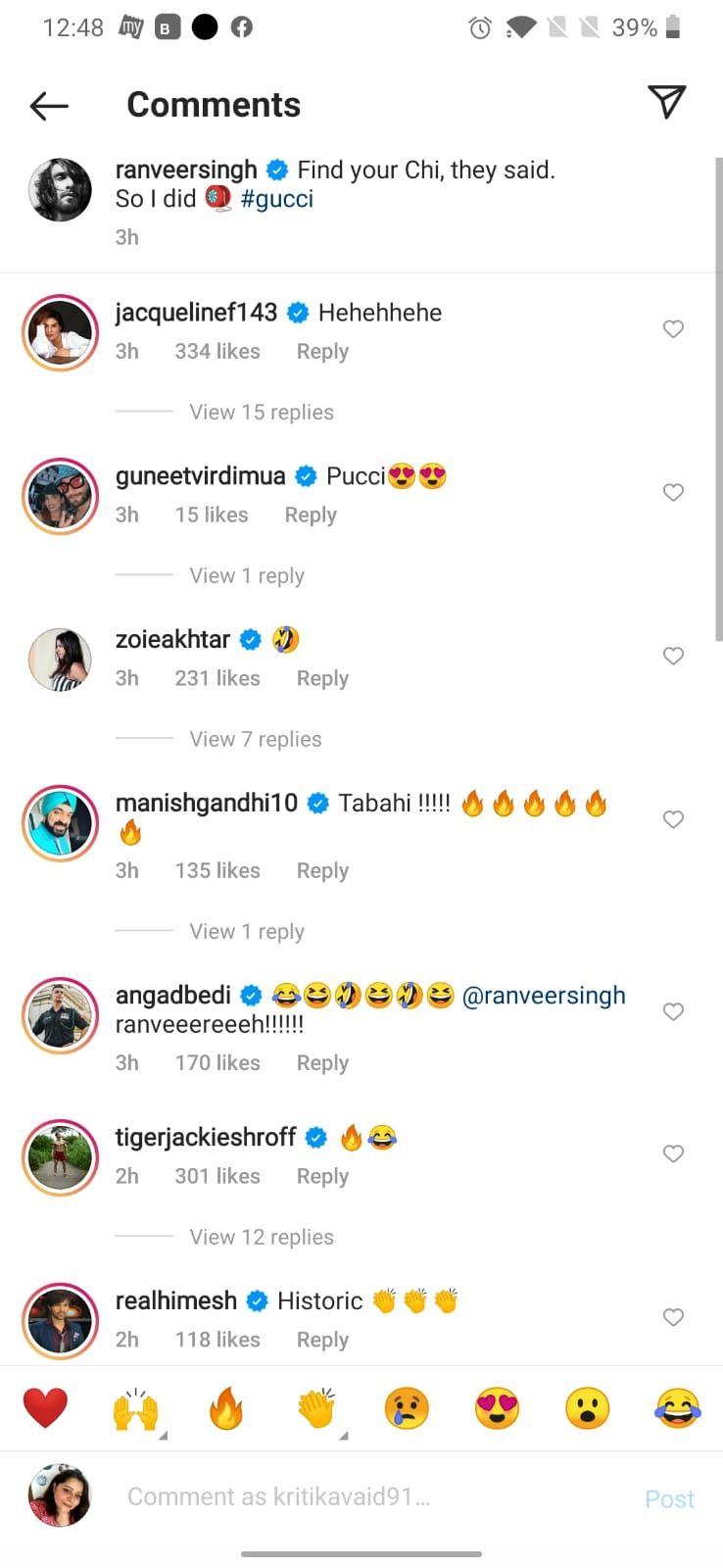 Ranveer Singh's comment section