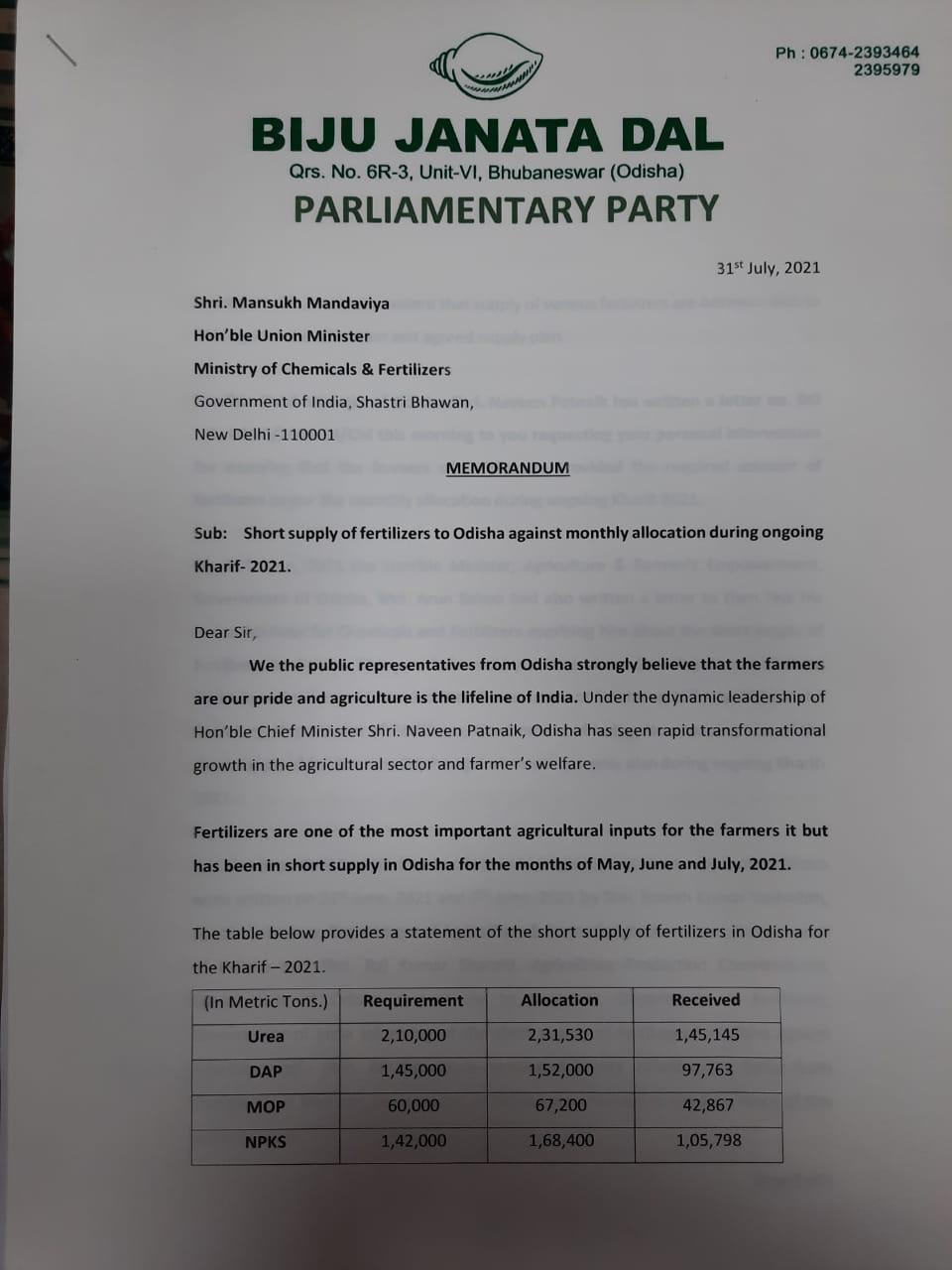 Odisha MPs submit memorandum to Union Minister Mansukh Mandaviya