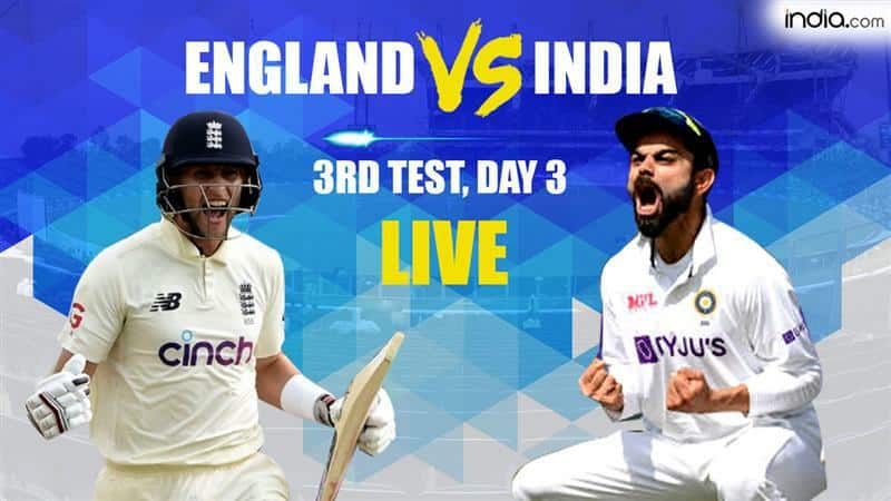 HIGHLIGHTS 3rd Test: Pujara Nears Hundred, Kohli Solid; India Trail England by 139 Runs at STUMPS on Day 3