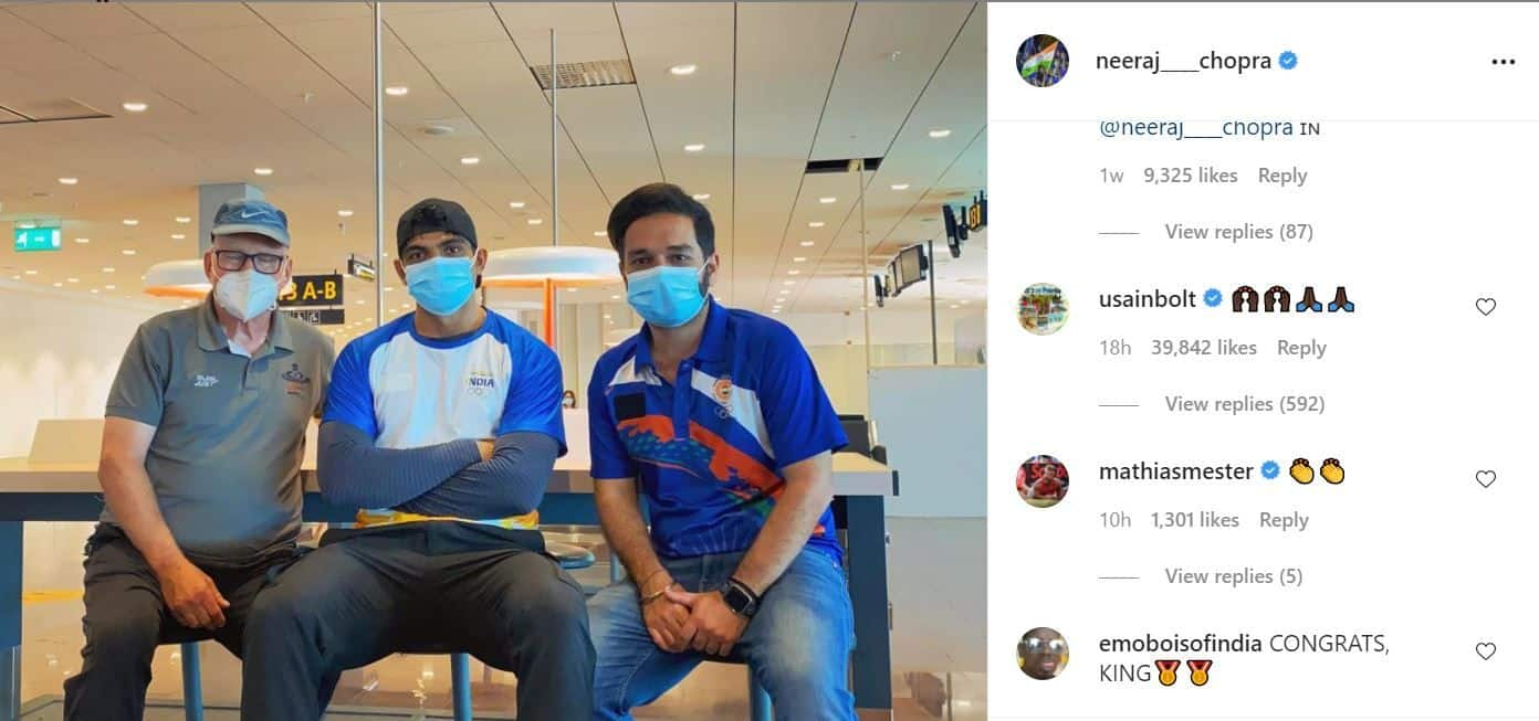 Usain Bolt Leaves Comment on Neeraj Chopra's Old Instagram Post