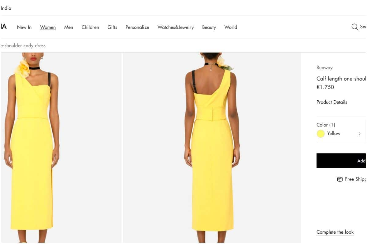 One-Shoulder Yellow Cady dress. Picture credits: Screenshot from Official Website (@dolcegabbana.com)