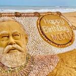 Sudarsan Pattnaik Creates Sand Art Using 2035 Seashells to Wish PM Modi on His 71st Birthday | Watch