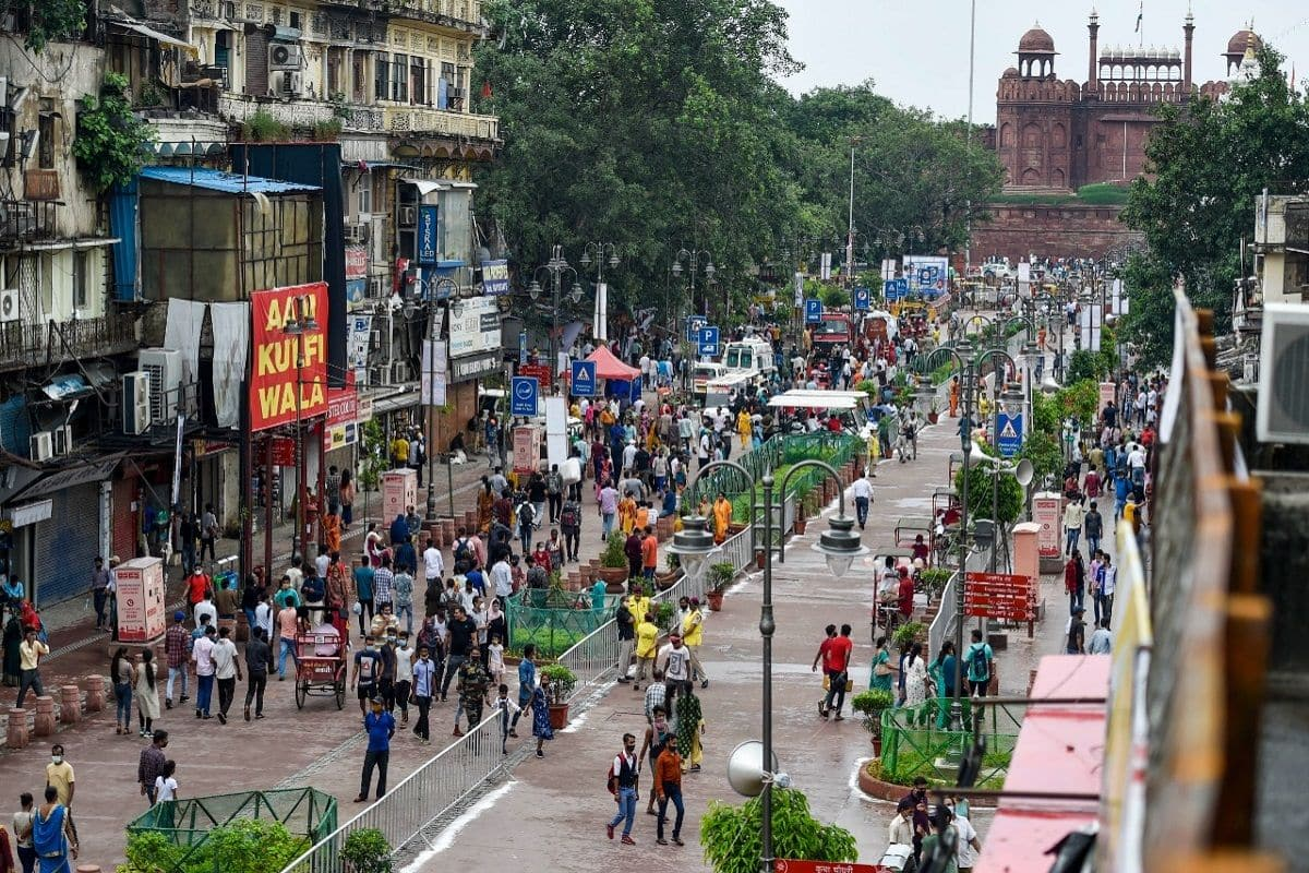 Redeveloped Chandni Chowk market area during its inauguration in New Delhi.