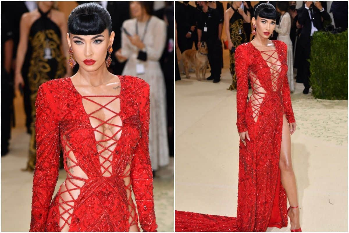 After Going Almost Nude, Megan Fox Sparkles at Met Gala 2021 in a Red Hot Gown With Thigh-High Slit | See Pics