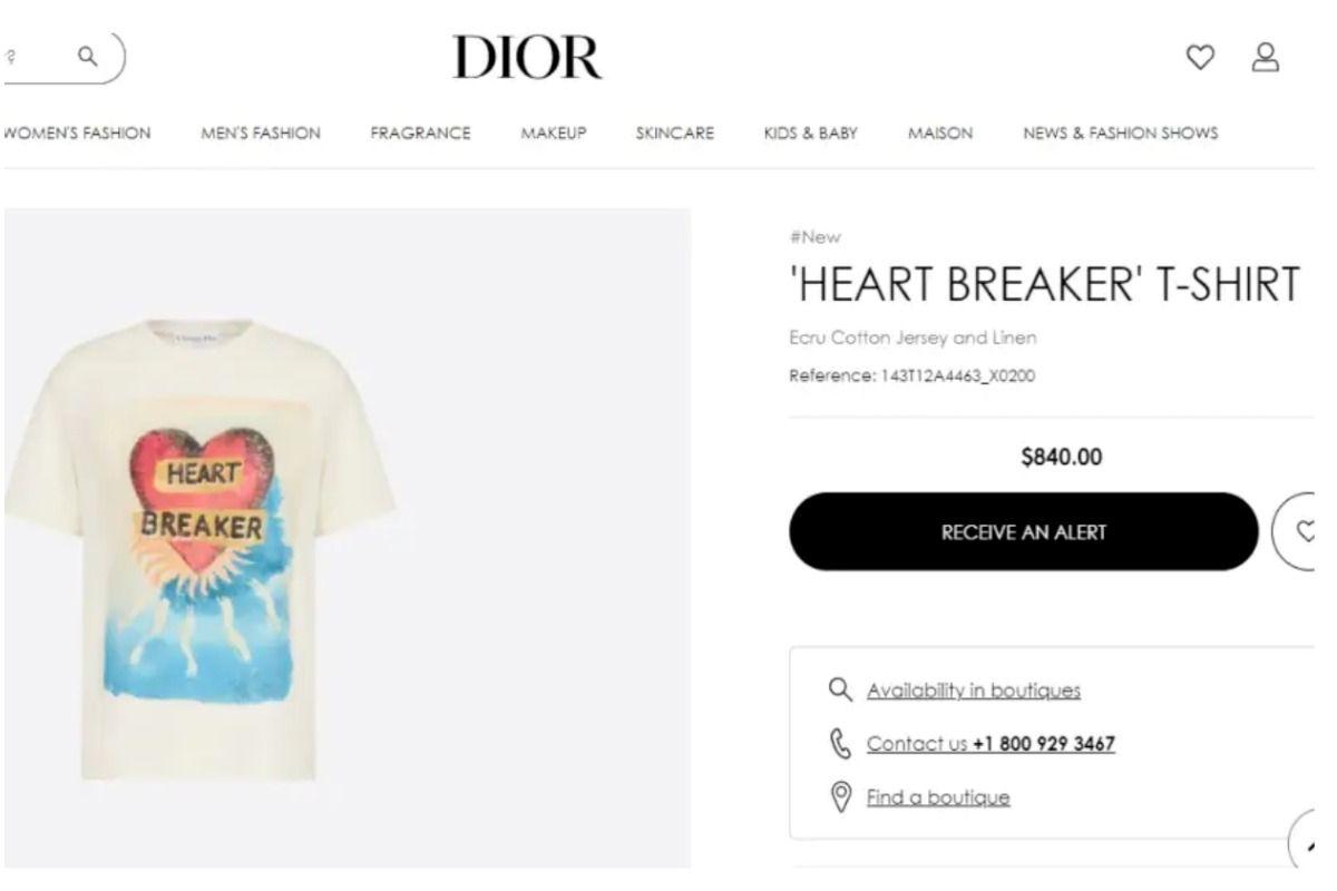 Heart Breaker T-Shirt. Picture Credit: Screenshot from Official Website (@dior.com)