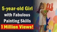Watch: 5-Year-Old Girl Paints On A Huge Canvas, Her Skills Leave People Amazed   Viral Video
